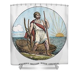 Ancient Briton And Coracle Shower Curtain by Granger