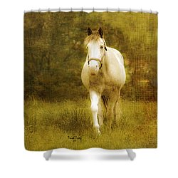 Andre On The Farm Shower Curtain by Trish Tritz