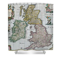 Antique Map Of Britain Shower Curtain by English School