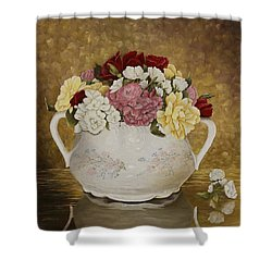 Antique Roses Shower Curtain by Mary Ann King