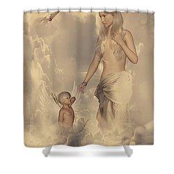 Aphrodite And Eros Shower Curtain by Lourry Legarde