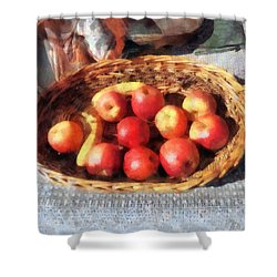 Apples And Bananas In Basket Shower Curtain by Susan Savad