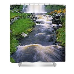 Ardara, Co Donegal, Ireland Waterfall Shower Curtain by The Irish Image Collection