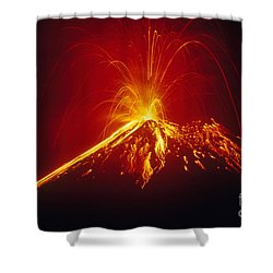 Arenal Volcano Erupting Shower Curtain by Gregory G. Dimijian