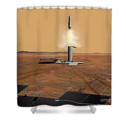 Artists Concept Of An Ascent Vehicle Shower Curtain by Stocktrek Images