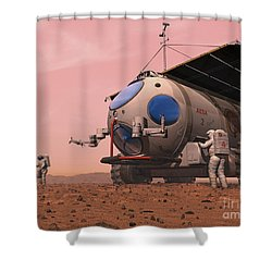 Artists Concept Of How A Martian Shower Curtain by Walter Myers