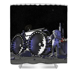 Artists Rendering Of Future Space Shower Curtain by Stocktrek Images