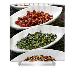 Assorted Herbal Wellness Dry Tea In Bowls Shower Curtain by Elena Elisseeva
