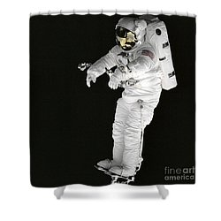 Astronaut Stands On A Portable Foot Shower Curtain by Stocktrek Images