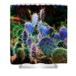 At Night The Desert Glows Shower Curtain by Ellen Heaverlo