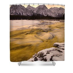 Athabasca River And Mt Fryatt, Jasper Shower Curtain by Darwin Wiggett