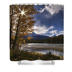 Athabasca River With Mount Fryatt Shower Curtain by Dan Jurak