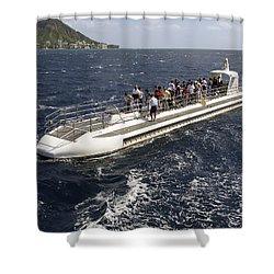 Atlantis Submarine - Waikiki Bay Hawaii Shower Curtain by Daniel Hagerman