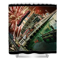 Att Park And Fire Works Shower Curtain by Blake Richards