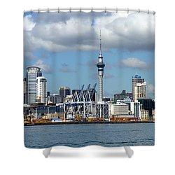 Auckland Skyline Shower Curtain by Carla Parris