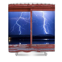 August 5th Lightning Storm Red Picture Window Frame Photo Art Shower Curtain by James BO  Insogna