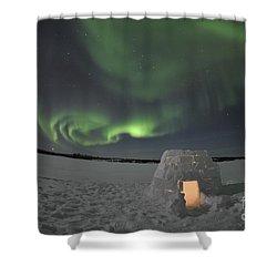 Aurora Borealis Over An Igloo On Walsh Shower Curtain by Jiri Hermann