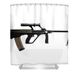 Austrian 5.56mm Steyr Aug Light Support Shower Curtain by Andrew Chittock