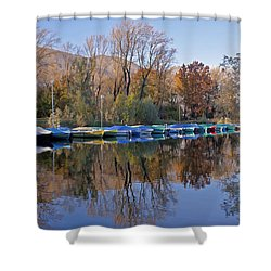 autum at the Lake Maggiore Shower Curtain by Joana Kruse