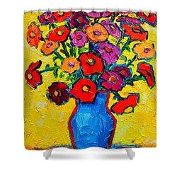 Autumn Flowers Zinnias Original Oil Painting Shower Curtain by Ana Maria Edulescu