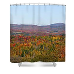 Autumn Panorama Brome Quebec Canada Shower Curtain by David Chapman