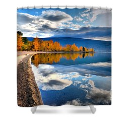 Autumn Reflections In October Shower Curtain by Tara Turner