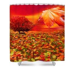 Autumnal Scene Shower Curtain by Lourry Legarde