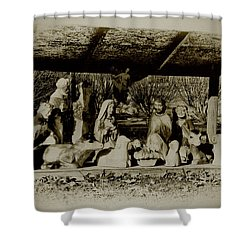 Away In The Manger Shower Curtain by Bill Cannon