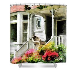 Azaleas By Porch With Wicker Chair Shower Curtain by Susan Savad