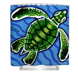 Baby Green Sea Turtle Shower Curtain by Genevieve Esson