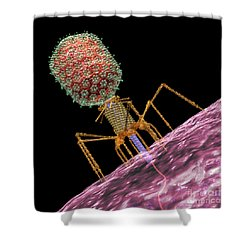 Bacteriophage T4 Injecting Shower Curtain by Russell Kightley