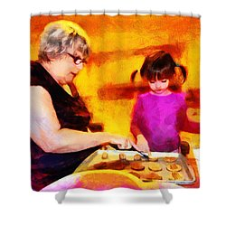 Baking Cookies With Grandma Shower Curtain by Nikki Marie Smith