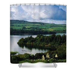Ballindoon Abbey, Lough Arrow, Co Shower Curtain by The Irish Image Collection