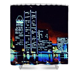 Baltimore By Black Light Shower Curtain by Thomas Kolendra