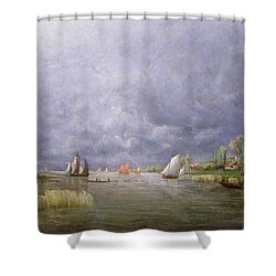 Banks Of The Loire In Spring Shower Curtain by Charles Leroux