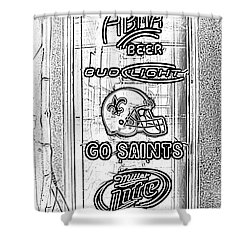 Bar Window Display With Neon Signs In French Quarter New Orleans Photocopy Digital Art Shower Curtain by Shawn O'Brien