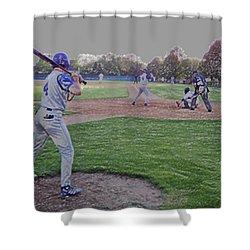 Baseball On Deck Digital Art Shower Curtain by Thomas Woolworth