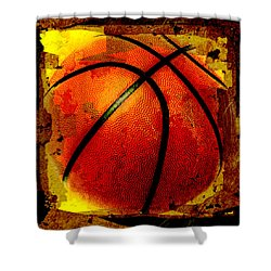 Basketball Abstract Shower Curtain by David G Paul