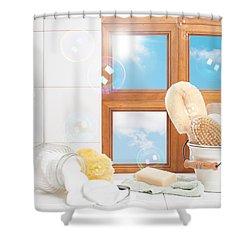 Bathroom Interior Still Life Shower Curtain by Amanda And Christopher Elwell