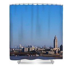 Baton Rouge Skyline Louisiana  Shower Curtain by Susanne Van Hulst