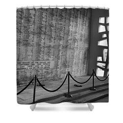 Battleship Arizona Memorial Wall - Pearl Harbor Hawaii Shower Curtain by Daniel Hagerman