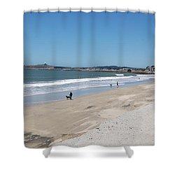 Beach At El Granada Shower Curtain by Carolyn Donnell