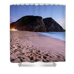Beach At Evening Shower Curtain by Carlos Caetano