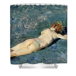 Beach At Portici Shower Curtain by Mariano Fortuny y Marsal