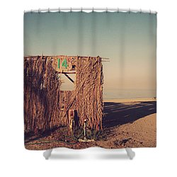 Beach Hut Number Fourteen Shower Curtain by Laurie Search