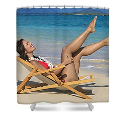 Beach Stretching II Shower Curtain by Tomas del Amo
