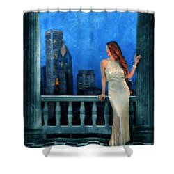 Beautiful Woman In Evening Gown With City Night View Shower Curtain by Jill Battaglia
