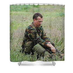 Belgian Paratroopers Red Berets Shower Curtain by Luc De Jaeger