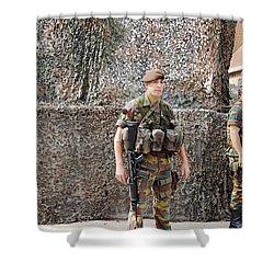 Belgian Soldier On Guard Shower Curtain by Luc De Jaeger