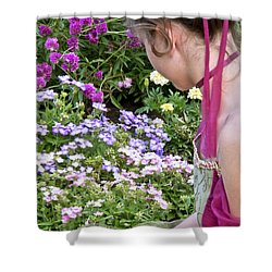 Belle In The Garden Shower Curtain by Angelina Vick